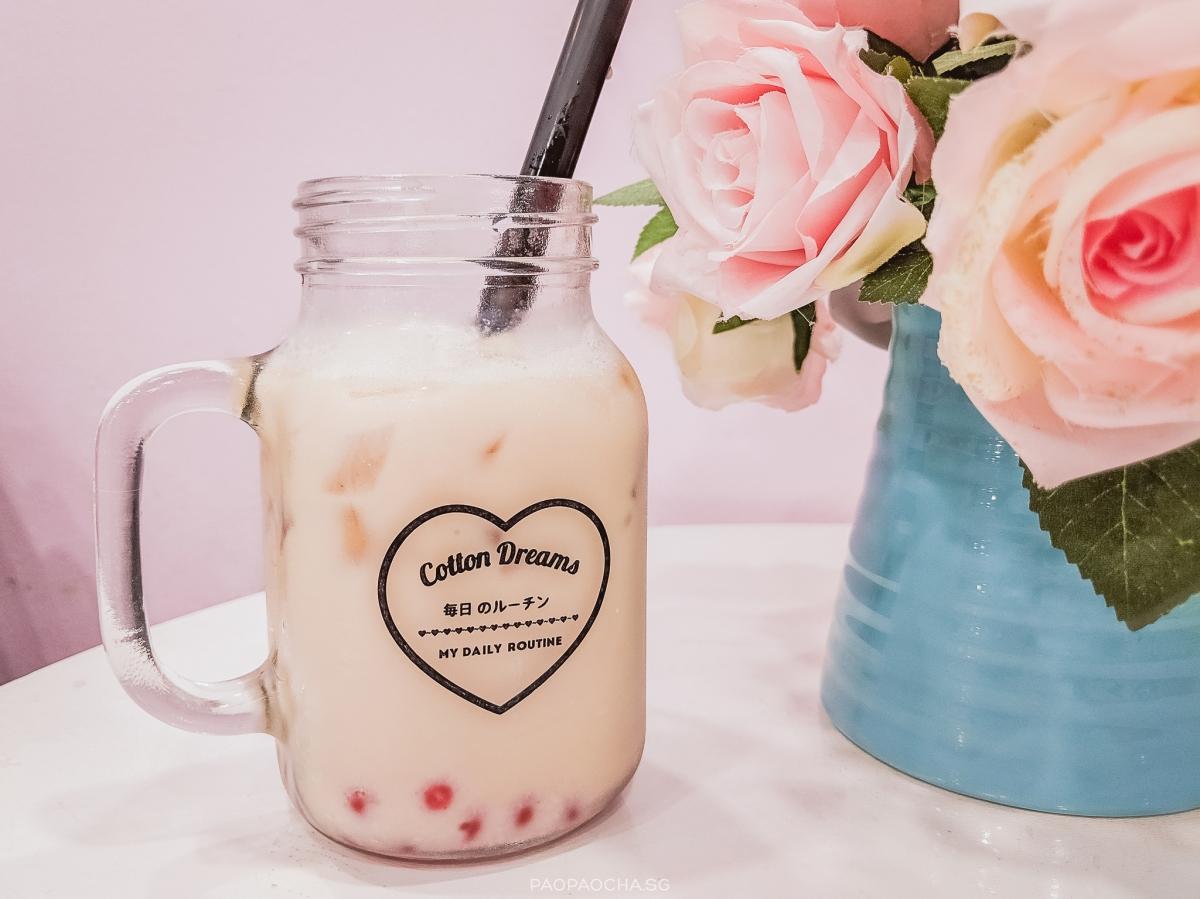 Coconut Milk Tea with Strawberry Burst Pearls