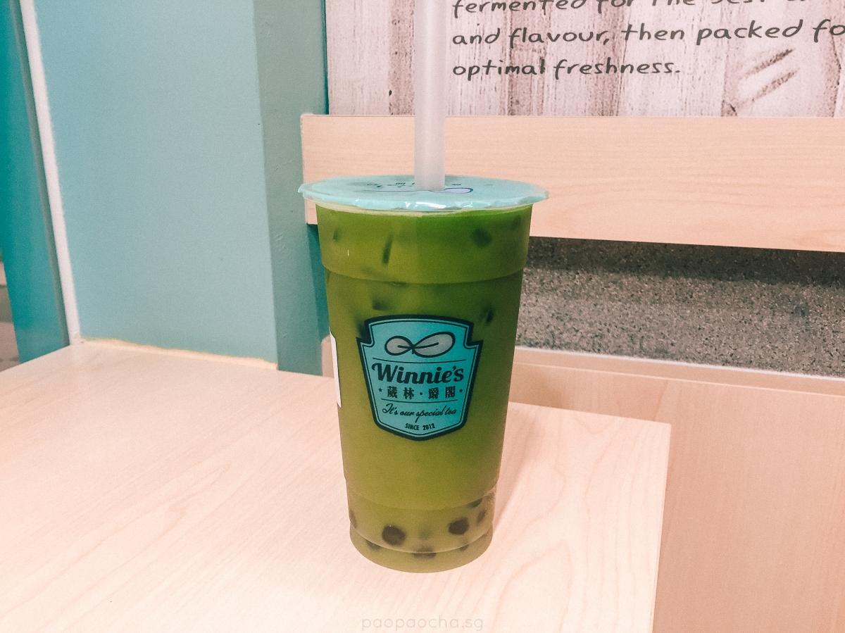 Winnie's Aqua Matcha Tea with Pearls